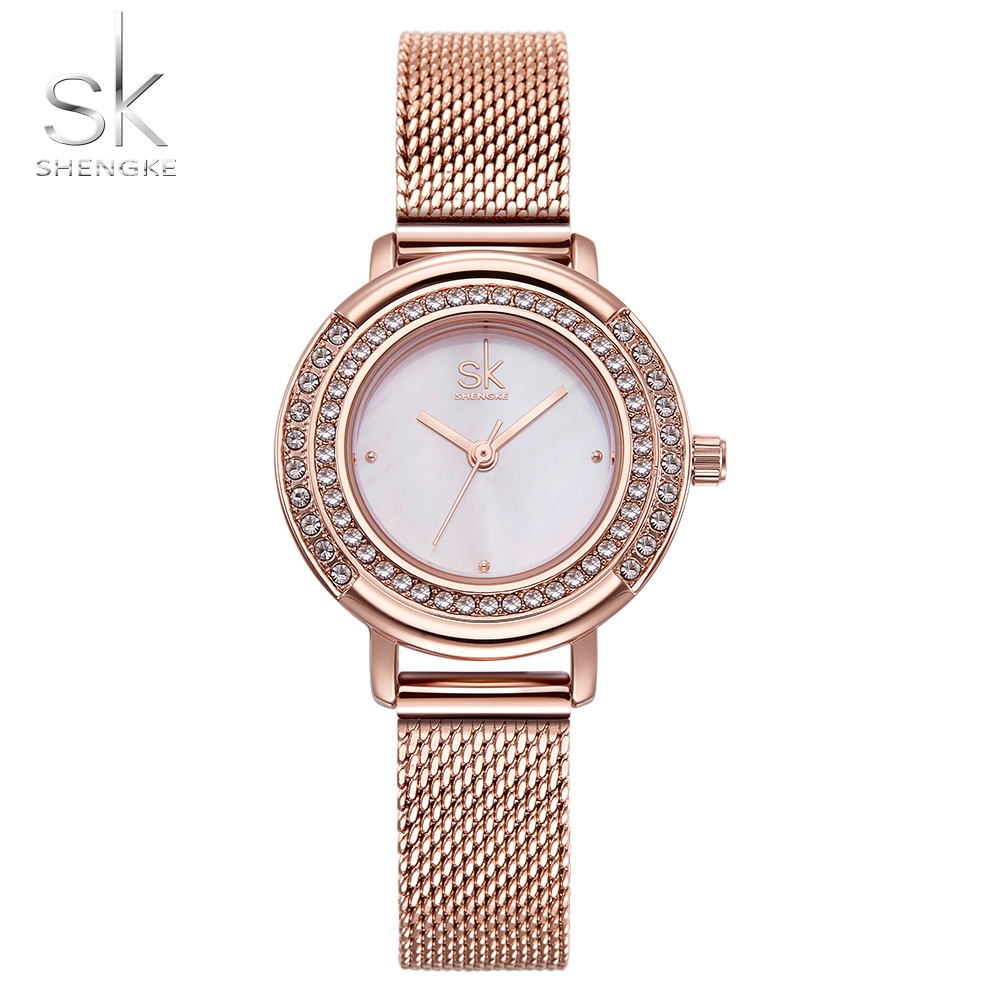 Shengke Rose Gold Watch Women Crystal Dial Quartz Watches Ladies Top Brand Luxury Female Wrist Watch Girl Clock Relogio Feminino watch women luxury brand lady crystal fashion rose gold quartz wrist watches female stainless steel wristwatch relogio feminino