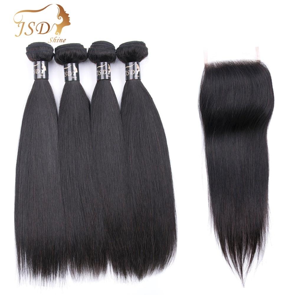JSDshine перуанский прямые волосы 4 пучки с закрытием 4X4 натуральный черный человеческий волос Связки с кружевом Закрытие Волосы remy можно покра...