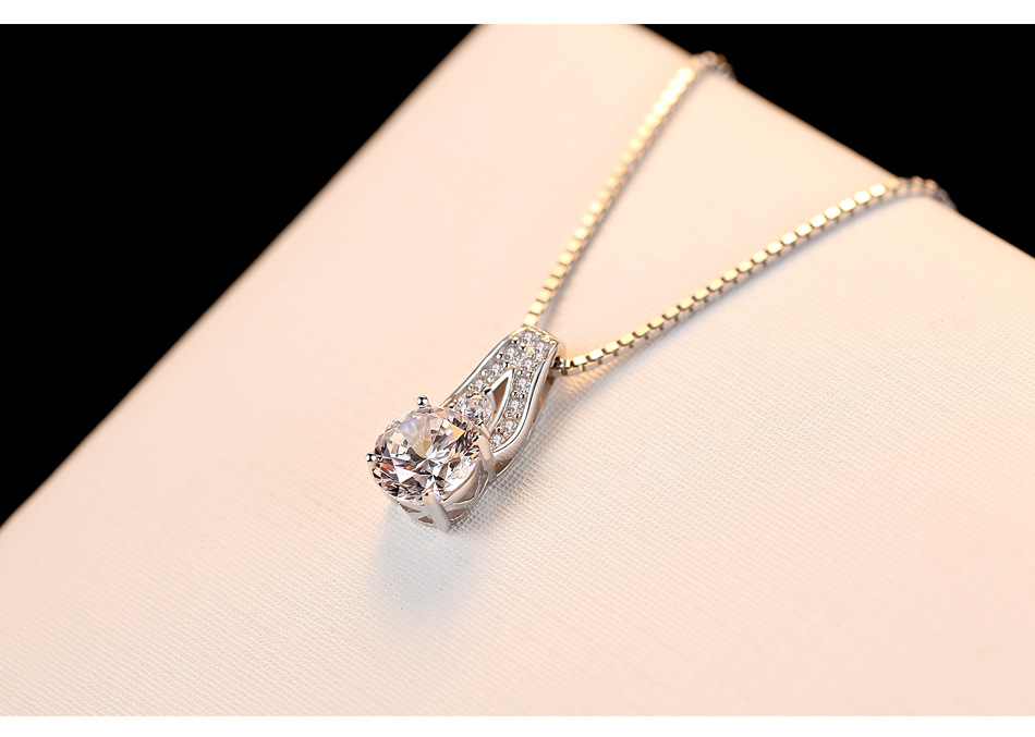S925 sterling silver necklace inlaid zircon pendant ladies accessories jewelry gift Y03