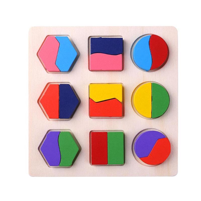 Деревянные геометрические формы головоломка Монтессори Сортировка математические кирпичи дошкольного обучения обучающая игра для малышей игрушки для детей - Цвет: B