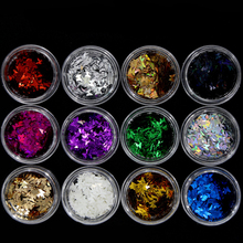 12 Dozen Een Set Mix Kleuren Nail Art Vlinder Vorm 3D Laser Glitter Nail Vlokken Dunne Paillette Pailletten Slice Decoratie tips