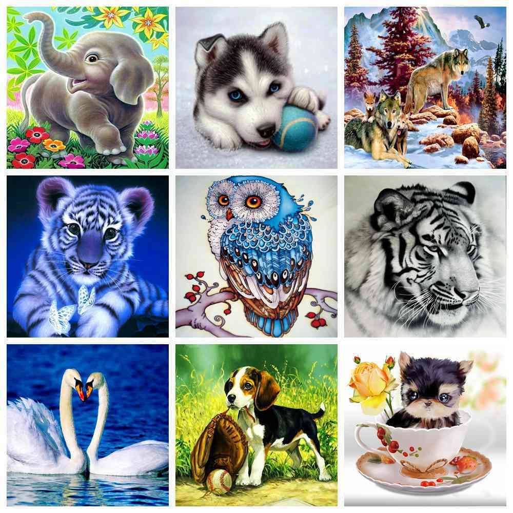Полный алмазов картина мультфильм Животные Тигр собака волк Сова Лебедь 5D DIY алмаз вышивка комплект горный хрусталь Moasic Вышивка крестом под...