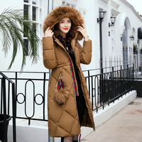 New 2017 Russia Style Fashion Winter Parka Women Large Fur Collar Coat Ladies Long Clothing Thickening