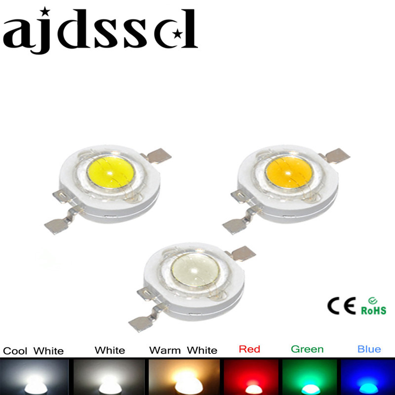 100Pcs/lot Real CREE 1W 3W High Power LED Lamp Beads 2.2V-3.6V SMD Chip LED Diodes Bulb White / Warm White / Red / Green / Blue