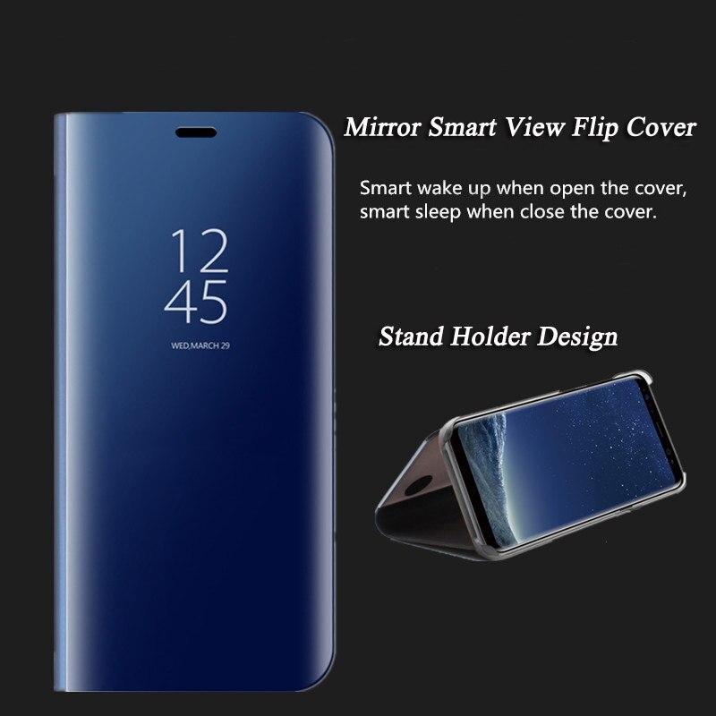 Miroir Smart View Placage Flip Cas de Stand Couverture Pour Xiaomi Redmi 4X Note 5A 5 Clair Dur Capa Pour Xiaomi Mi Note 3 Mi 6 Redmi 5