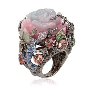 Vintage turco negro oro peonía Rosa blanco rosa flor anillos para Mujeres Hombres lujo árbol rama lagartija diseño anillo grande Z4X878