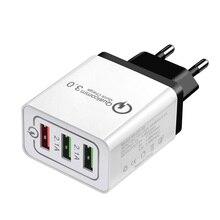 Caricatore USB QC3.0 2.1A Veloce Carica Rapida 3 Porte UE Spina DEGLI STATI UNITI Adattatore di Alimentazione Presa Caricatore di Corsa Della Parete Per il iPhone samsung S8 S9