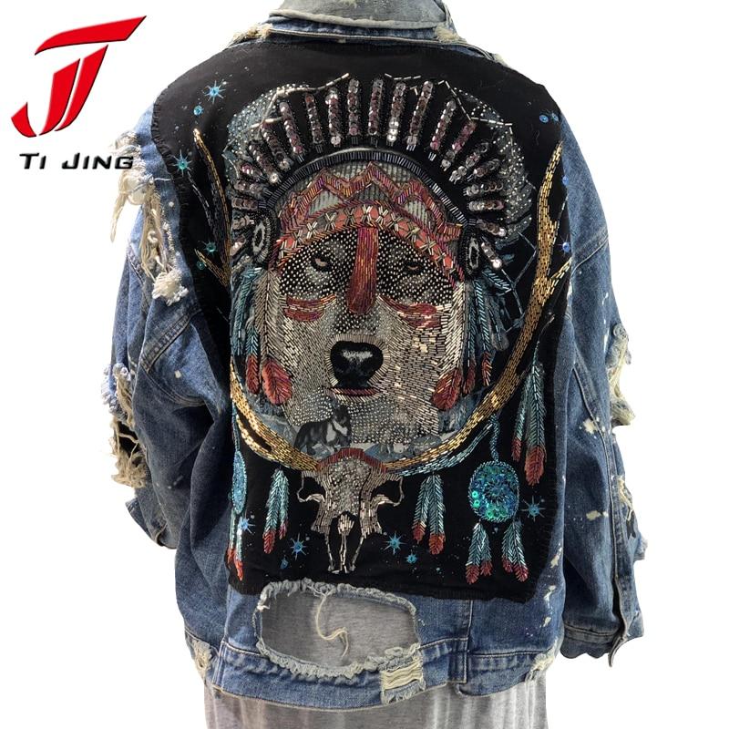 Vintage womens loose jean   jackets   ripped frayed plus size sequined fashion denim   jacket   coats woman   basic     jacket   2019 Z353