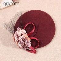 QDKPOTC 2018 New Wedding Fedora Hat Wool Felt Flower Beret Performance Ceremonial Banquet Wedding Dress Headdress Cap