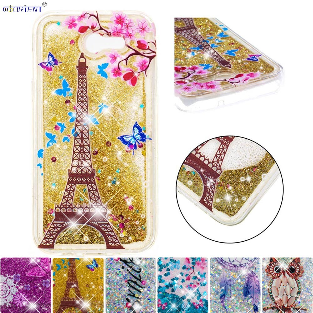 Fast Deliver For Samsung Galaxy J3 Emerge Cute Glitter Cover Sol 2 Amp Prime 2 Bling Dynamic Liquid Quicksand Shockproof Fitted Case Sm-j327u Fitted Cases