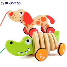 Wooden crocodile dog canine puppy puzzle toy toddler baby walking tails wagging animal Pull car wheel toys Gift for toddler