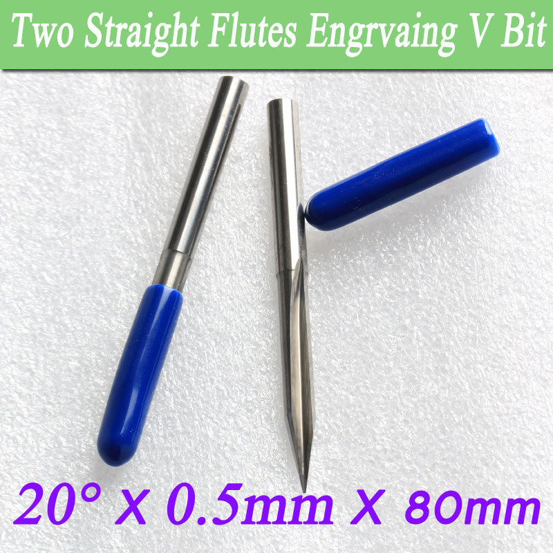 2Pcs Two Flutes Straight V Bit Brass Cutting 20 degree 0.5mm Tip 80mm Length Engraving Tool Deep CNC Router Bit 8 60 90 120 v 2 flutes cnc machine engraving bit two spiral cutter cnc router endmill