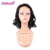 Fatimas Parrucca Brasiliana naturale Dei Capelli dell'onda 18 Umani di Pollice lungo Parrucche Per Donne di Colore dei capelli 1B Dimensione Media Cap Spedizione libero