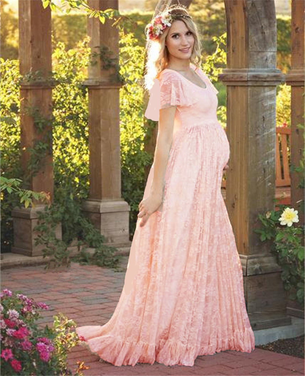2018 Plus Size Maternity Dresses For Photo Shoot Fashion Lace Maxi Maternity Gown Dress Women Pregnancy Clothes Photography Prop plus size lace trim maxi dress