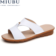 MIUBU WomenS Sandals Leather Women Flats Shoes Platform Wedges Female Slides Beach Flip Flops Summer
