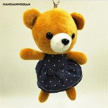 HANDANWEIRAN 1Pcs Super Cute 14CM Wearing Denim Skirt Bear Stuffed Plush Toys Lovely Bag Pendants Toy Valentine Gifts
