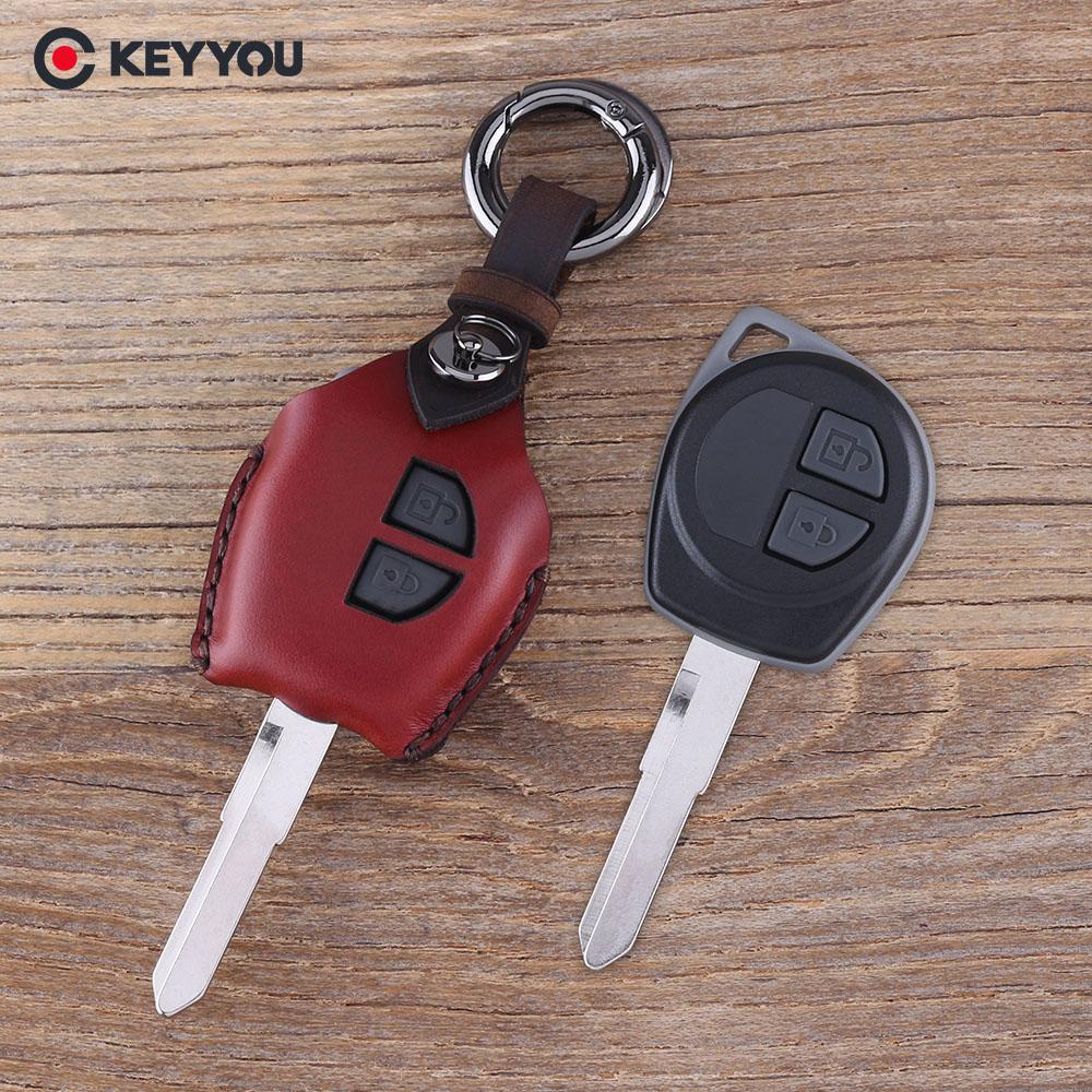 KEYYOU Leather 2 Button Key Case For SUZUKI SX4 Swift Grand Vitara Liana Key Cover Accessories все цены