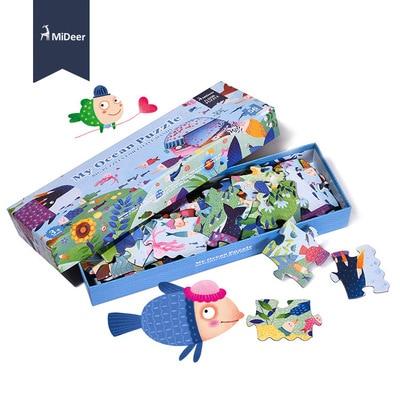Mideer 56 pièces/ensemble Grand Puzzle en bois Mon Océan Puzzle Esthétique Puzzle pour cadeau d'anniversaire pour enfants