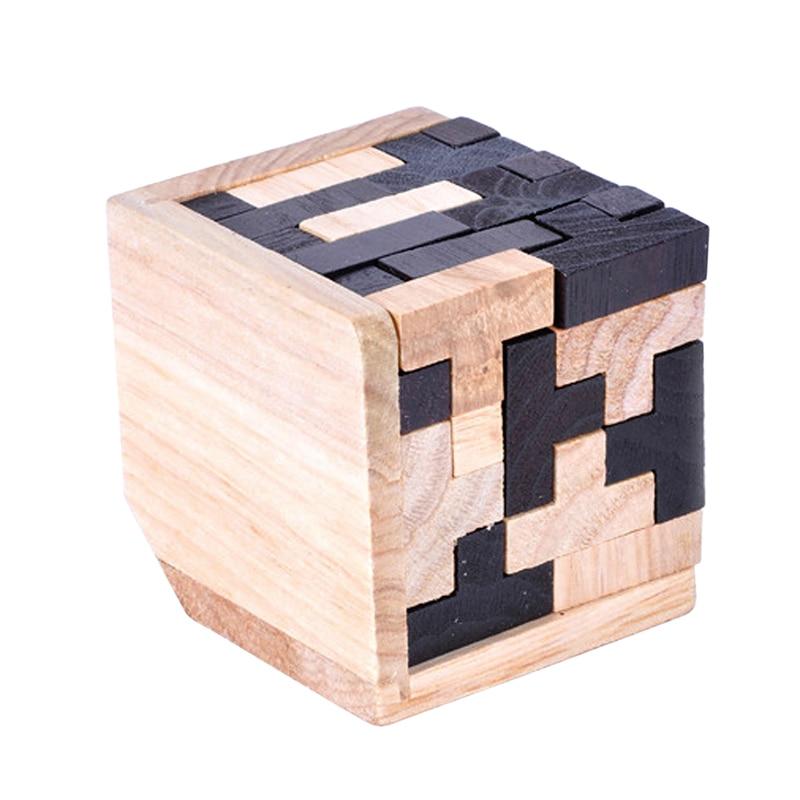 Educational Tetris Shape Wood Puzzles 3D Brain Teaser T Shape Jigsaw Puzzle Toy C-ube Geometric Shape Jigsaw