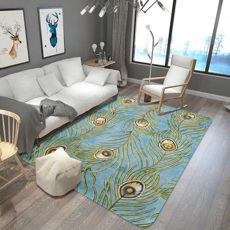 100x150cm Pecock Feather Printed Rug And Bedroom For Home