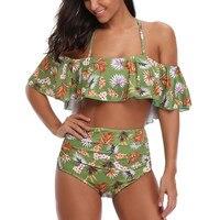 FITWEAR Off Shoulder Swimsuits Women 2 Pieces Swimwear Ruffles Halter High Waist Bikinis Women Floral Beachwear