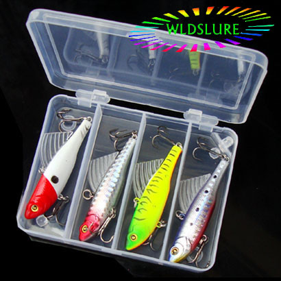 WLDSLURE 4pcs/set 14g winter sea hard fishing lure kit VIB bait with lead inside diving swivel jig wing wobbler crankbait wldslure 1pc 54g minnow sea fishing crankbait bass hard bait tuna lures wobbler trolling lure treble hook