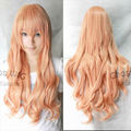 FREE SHIPPING Hot heat resistant Party hair>>80CM Long wavy Peach pink color Cosplay Party Wig