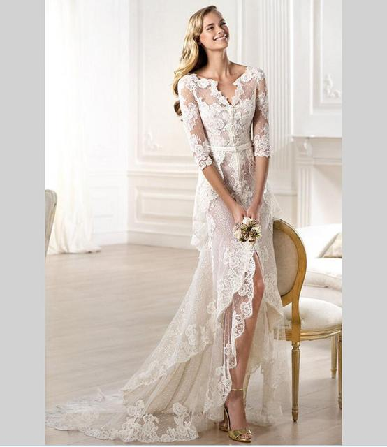 Aliexpresscom Buy 2016 V Neck Lace Wedding Dress Short Front