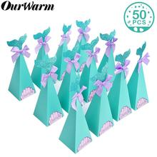 OurWarm 50Pcs Under the Sea Party Gift Box Mermaid Candy  Kids Birthday Wedding Favor Boxes Little Decorations