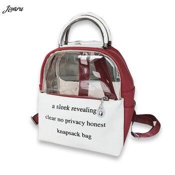 947d900b8655 Лидер продаж женский рюкзак ITA сумка прозрачный обувь для девочек школьная  сумка для женщин кожа Прозрачные рюкзаки с принтом букв Дамы