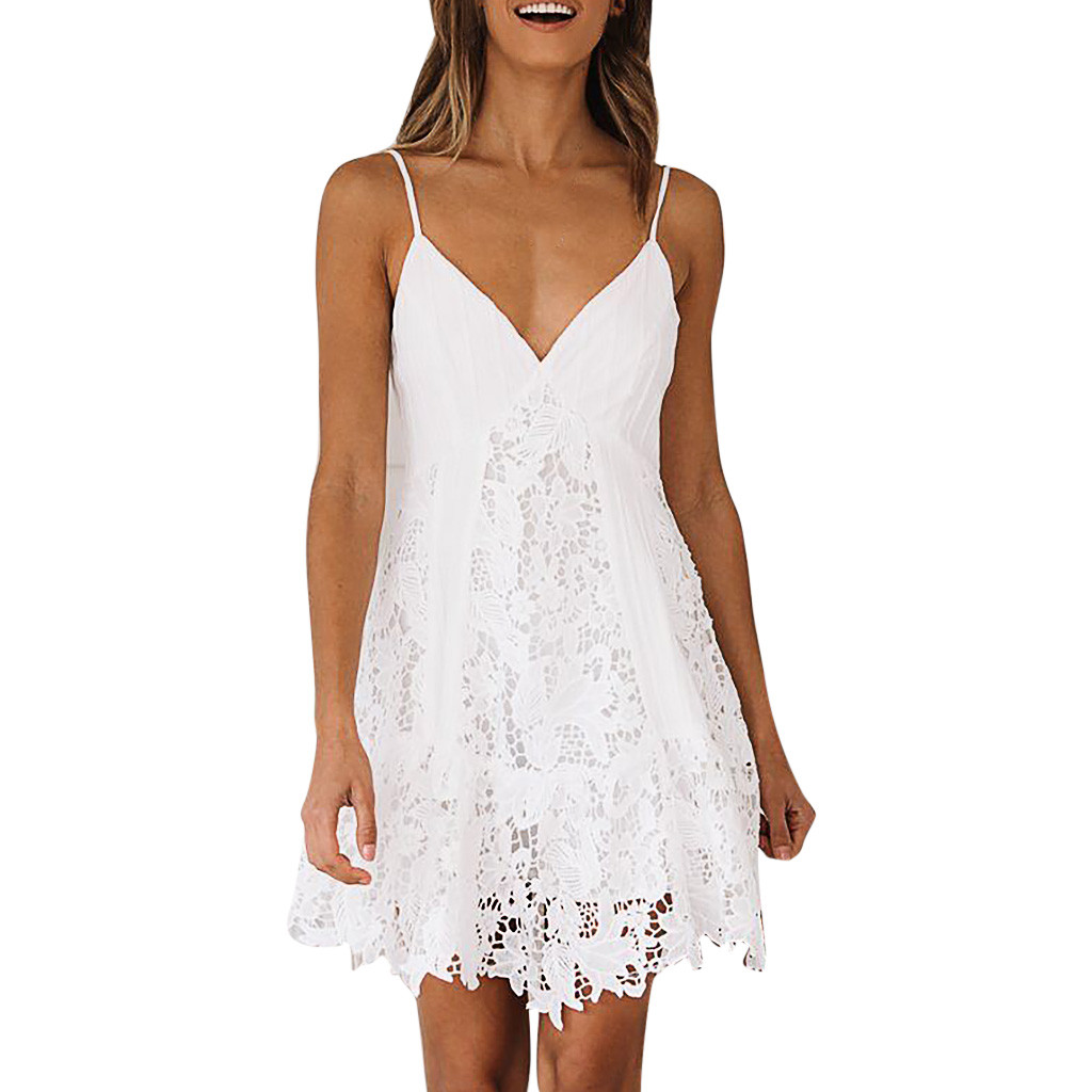 JAYCOSIN Sexy White Lace Dress Women Spaghetti Strap Lace Mini Dress Deep V Backless Lace Up Clubwear Club Party Beach Dresses