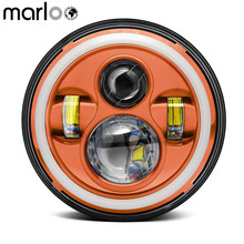 Marloo 7Inch LED Halo Harley Headlight, Orange Red Black With White DRL Amber Turn Signal For Harley Davidson 7″ Round Headlamp