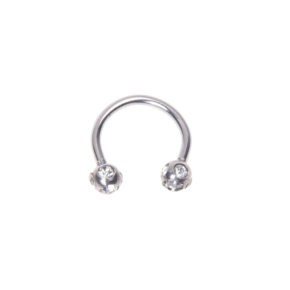 Horseshoe Crystal 316L steel lip chin ring ear barbell