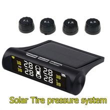 Digital Solar TPMS Tire Pressure Monitor System LCD Display 4 External Sensor Auto Alarm Security Adapter for VW Toyota BMW Audi