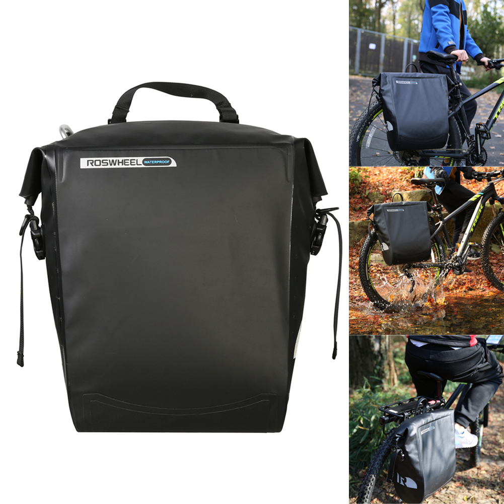 ROSWHEEL Rain-proof 20L MTB Bike Bicycle Rear Tail Bag PU Leather Rack Bag Cycling Panniers Waterproof PVC Rear Tail Trunk Bag wheel up bicycle rear seat trunk bag full waterproof big capacity 27l mtb road bike rear bag tail seat panniers cycling touring