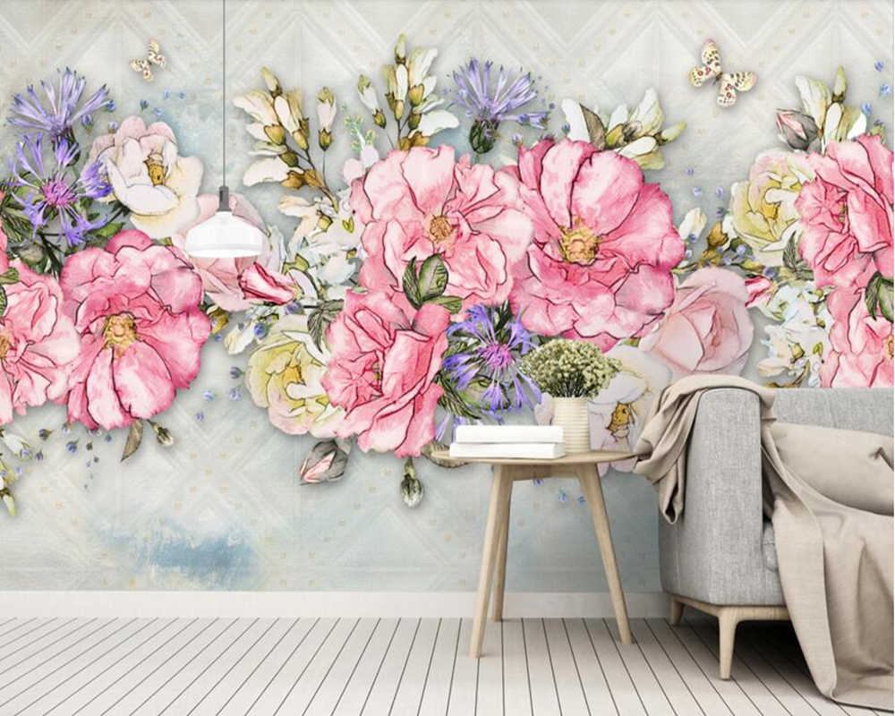 Fresh Hand Painted Peony Flower Watercolor Wallpaper Living Room