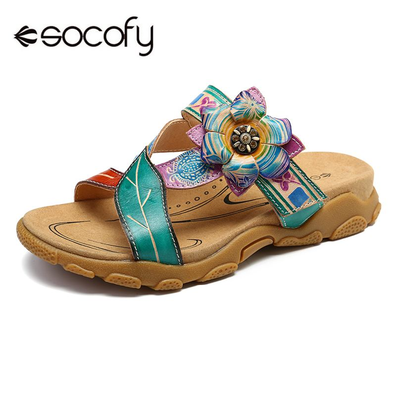 SOCOFY Soft Genuine Leather Shoes Hand Painted Floral Splicing Pattern Adjustable Hook Loop Sandals Comfortable Elegant ShoesSOCOFY Soft Genuine Leather Shoes Hand Painted Floral Splicing Pattern Adjustable Hook Loop Sandals Comfortable Elegant Shoes