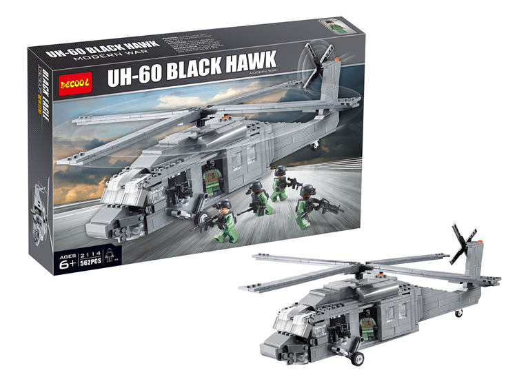 Decool Model building kits compatible with lego military Black Hawk helicopters 3D blocks Educational toys hobbies for children