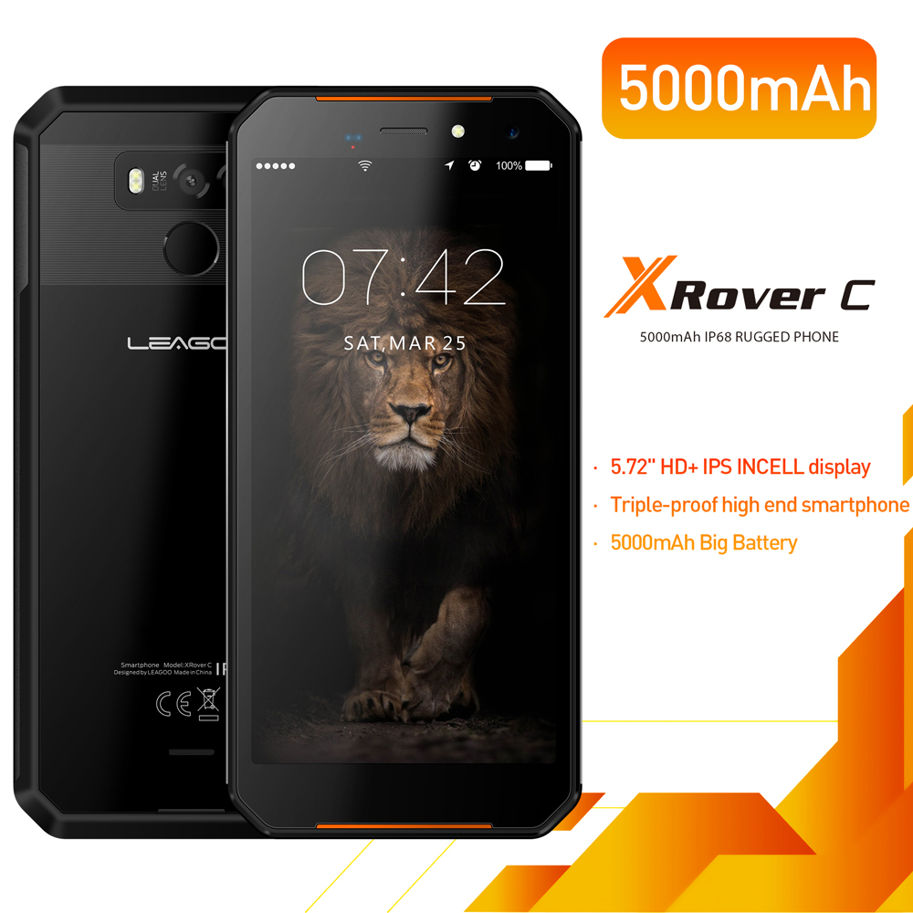 LEAGOO XRover C IP68 NFC OTG отпечатков пальцев Face ID 4G 5,72 ips смартфон 5000 mAh 2 GB 16 GB 13MP двойной сзади камеры мобильного телефона