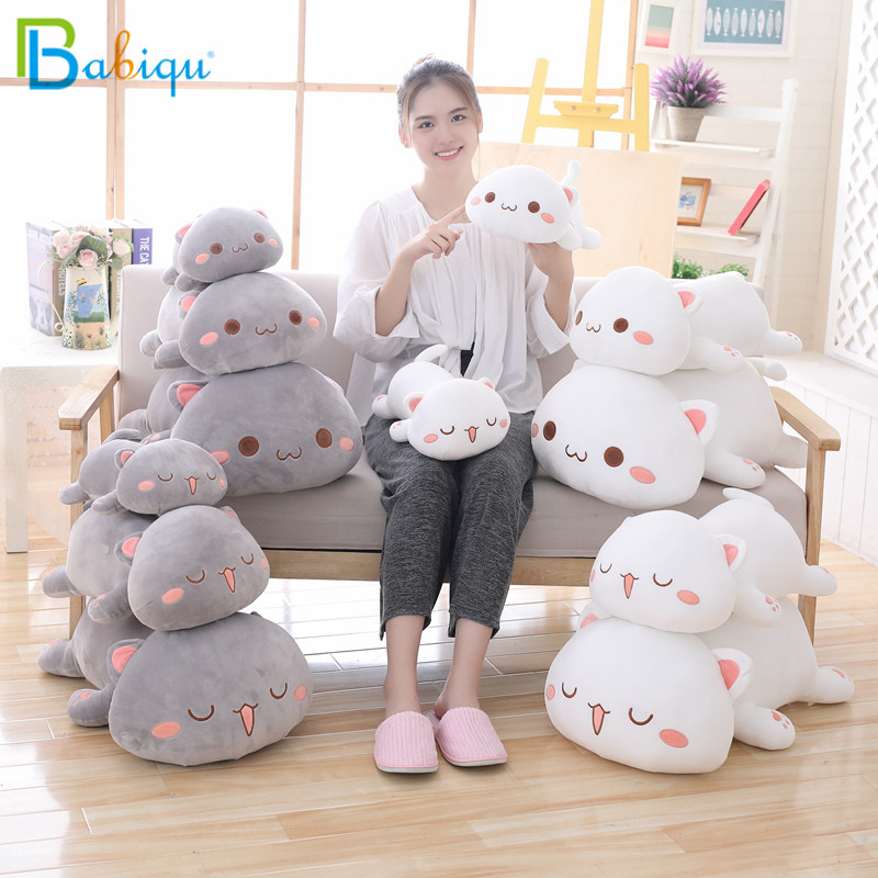 купить 1pc 65cm Kawaii Lying Cat Plush Toys Stuffed Cute Emoji Cat Doll Lovely Animal Pillow Soft Cartoon Cushion Kid Christmas Gift по цене 1673.42 рублей