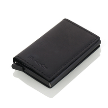 Men Genuine Leather Card Holder RFID Metal Credit Anti-theft Wallet Automatic Pop Up card case