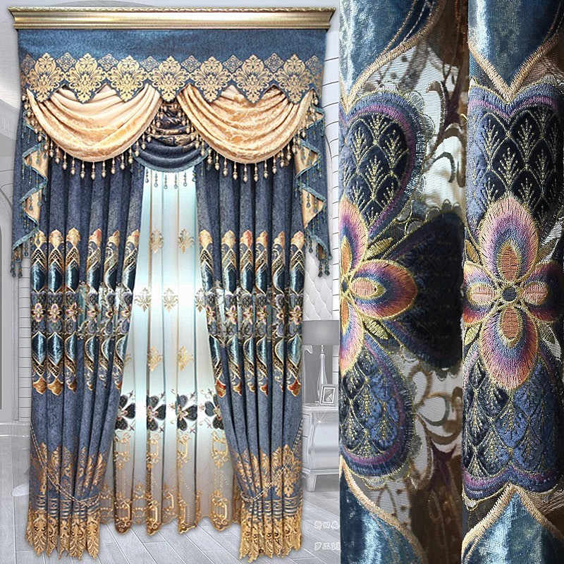 Chenille Embroidery Curtains for Living Room Drapes and Curtains Valance  Tulle Door Luxury Jacquard curtains for bedroom