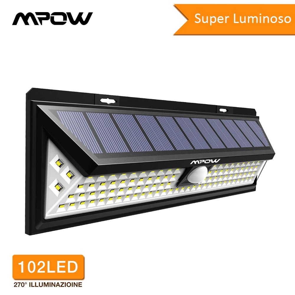 Mpow CD126 Super lumineux 102 LED lumière solaire étanche jardin extérieur sécurisé lumières lampes avec détecteur de mouvement 3 modèles réglables
