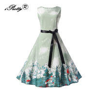 iPretty women dress New Arrival 2017 Christmas Tree Print Vintage Sleeveless A Line Autumn 50s 60s Rockabilly Party Dresses