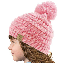 Фотография CC Logo Candy Colors Child Winter Autumn Knitted Hat Beanies Casual Pink Skullies Beanies Girls Warm Caps for Children