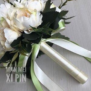 Image 5 - 웨딩 부케 웨딩 부케 수제 인공 꽃 장미 신부 꽃다발 웨딩 신부 꽃 꽃 소녀 지팡이