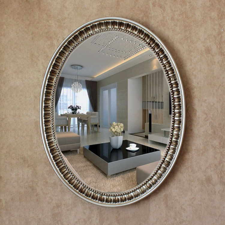 Oy 055 2016 new mirror oval pu large oval antique decorative bathroom wall mirror with frame in for How to frame an oval bathroom mirror
