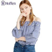 Hoffen Fashion Slash Neck Sexy Womens Blue White Striped Tops Off the Shoulder Long Sleeve Blusas Shirts Loose Blouses with Bow