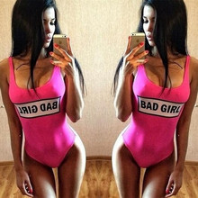 2016 New Arrival Bad Girl Printing Halter Swimsuit One Piece Neon Bathing Suits Letter Bikini maillot