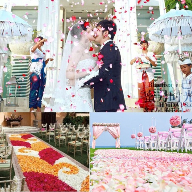 2000 Pcs Colorful Artificial Rose Petals Wedding Petalas Colorful Silk Flower Accessories Wedding Rose 2